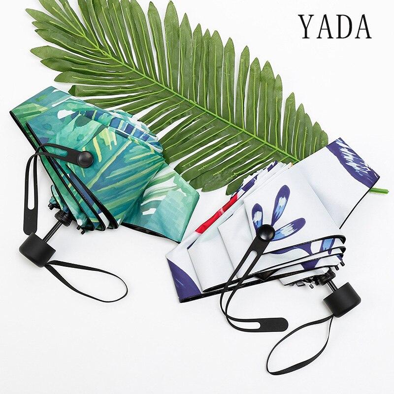 YADA New Green Leaf&Flower Light Mini Umbrella Rainy Five Pocket Fold Umbrella For Women Men Anti UV Waterproof Umbrellas YD167