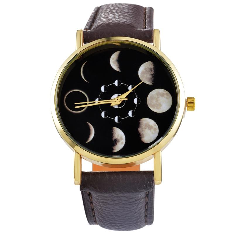 Doreen Box PU Leather Quartz Wrist Watches Round Eclipse Lunar Eclipse Pattern Black Battery Included 24cm(9 4/8) long, 1 Piece