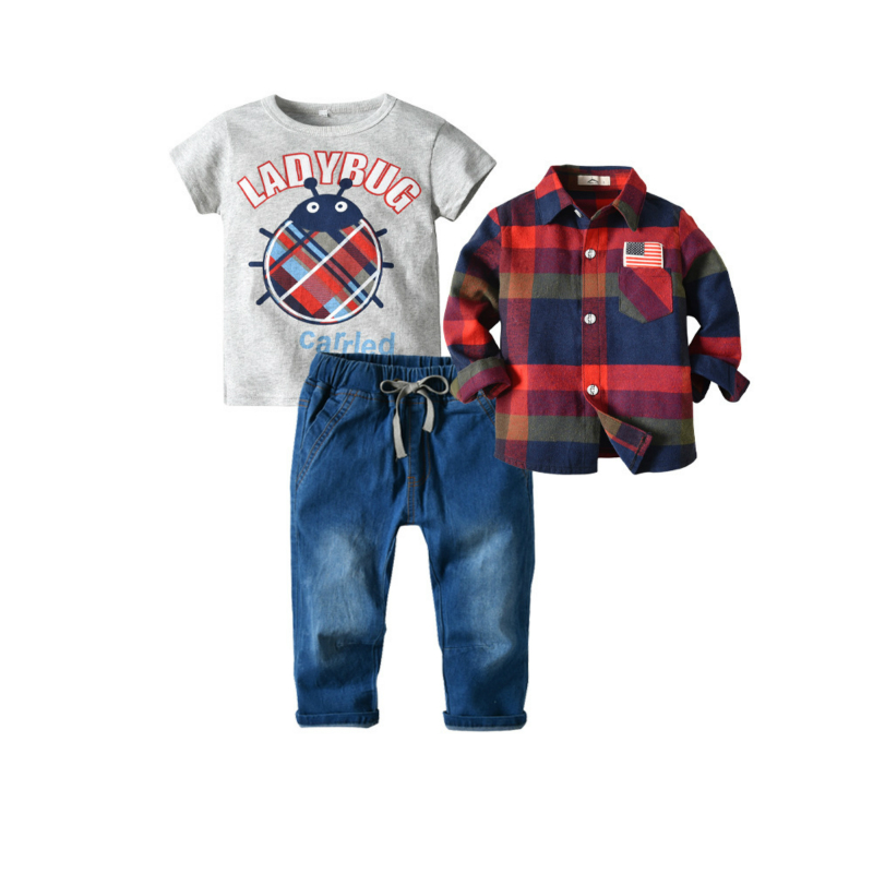 Kids Cloths Cartoon Short Sleeve T Shirt For Boys + Red Plaid Long Blouse With Jeans 3piece Set