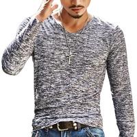 2018 NEW Trendy Summer Men T Shirt Casual Long Sleeve Slim Men's Basic Tops Tees Stretch T-shirt Mens Clothing Chemise Homme 1