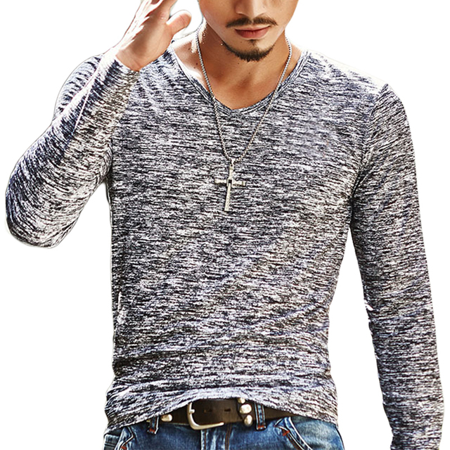 52236f1e70f 2018 Fashion Men T Shirt Casual Long Sleeve Slim Basic Tops Male Summer Stretch  T-Shirt Mens Clothing Tee Shirts Chemise Homme