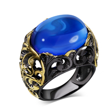 New design black Ring with AAA CZ blue stone black glod Rings for women fashion jewelry Free shipment full size