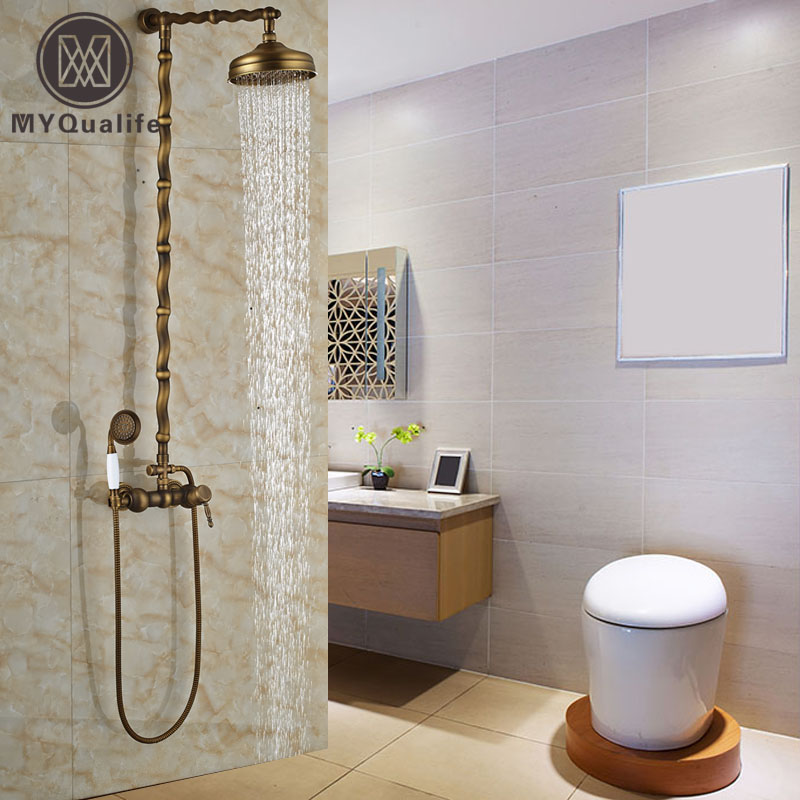 High-end Antique Brass Bathroom Shower Faucet Tap Unique Design In-wall Rainfall Shower Mixers System Shower Panel custom unique design original brown tree ring wood pattern waterproof bathroom shower curtain polyester fabric 48 w x72 h