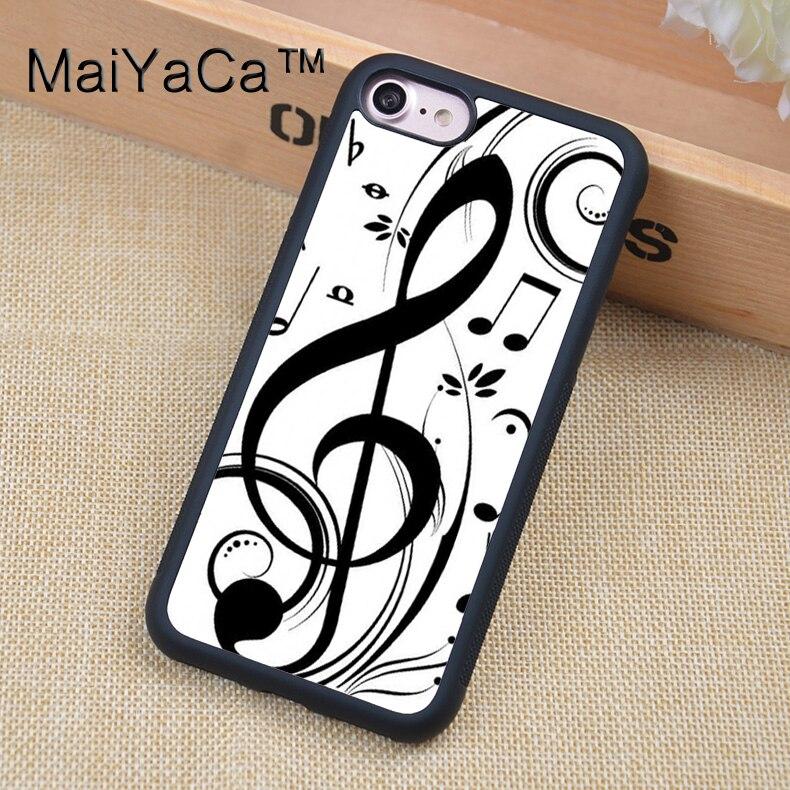 ᗜ LjഃMaiyaca blanco música nota caso para iPhone 6 6s fundas negro ...