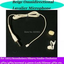 MICWL Beige mini Lavalier Clip Lapel Microphone for Sennheiser AKG Shure Audio-Technica Wireless Mic Bodypack OmniDirectivity