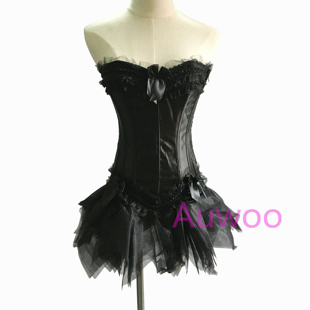 Women Sexy Gothic Fancy Corset Dress Overbust Corsets and Bustiers + Tutu Skirt Halloween Party Costumes Corselet