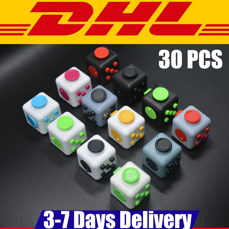 30 PCS DHL IN Stock Fidget Cube Puzzles 3.3x3.3cm Frosted Surface Good Hand Feeling Desk Spin Magic Cubes Stress Relief Toys