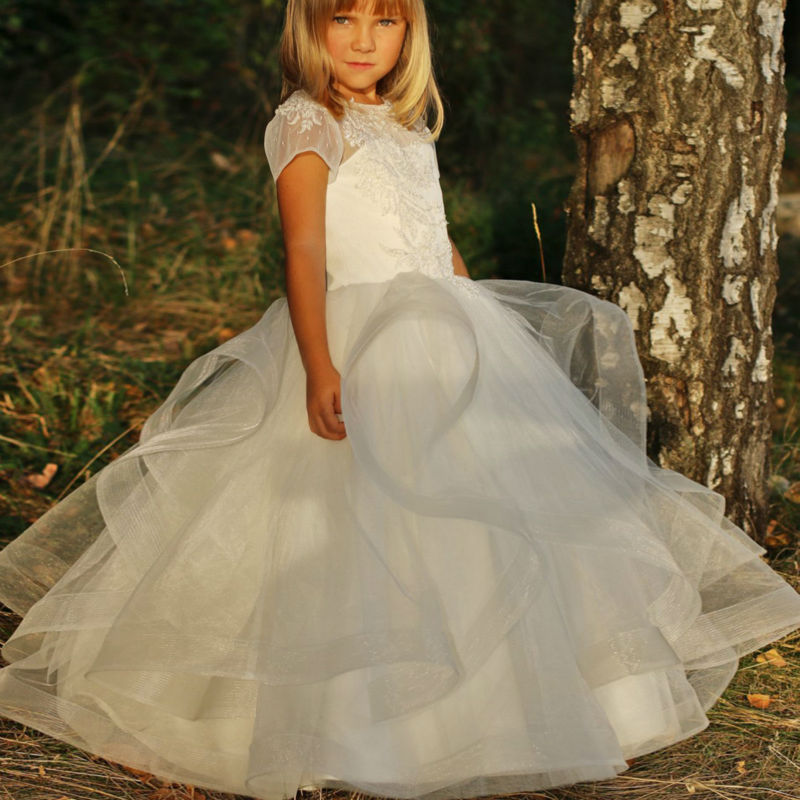 купить New Communion Gown Flower Girls Dresses for Wedding White First Communion Dresses for Girls Lace Mother Daughter Dresses онлайн