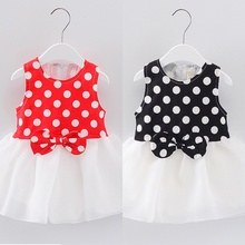 Fashion Children's Dresses 2017 Summer Polka Dots Print Baby Girl Cotton Dress Sleeveless Vestido