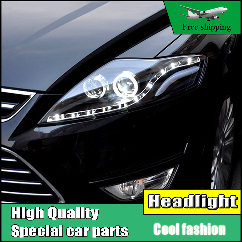 Car styling Head Lamp Case For Ford Mondeo 2007-2012 Headlights LED Headlight DRL Option Angel Eyes Bi-Xenon Lens low beam