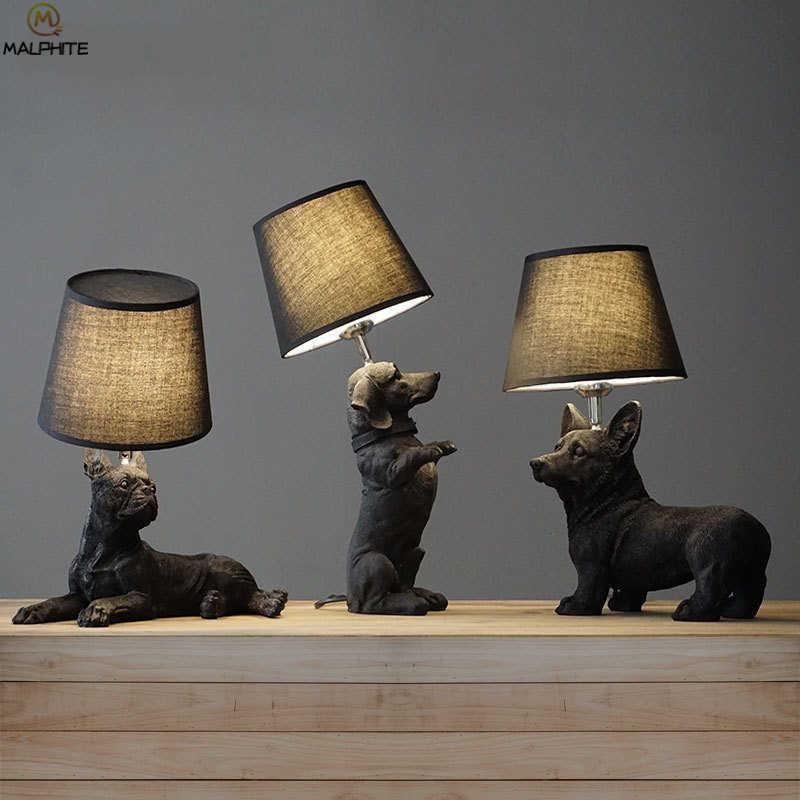 Lámpara de noche blanca y negra para cachorros, lámpara de noche para dormitorio, sala de estar, lámparas de mesa para perros, accesorios de iluminación para decoración de cuarto de baño