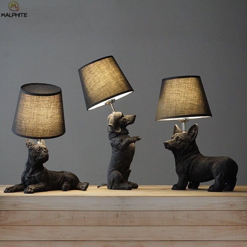 Noir blanc chiot Table lampAnimals chambre lampe de chevet salon chiens lampes de Table abajur para quarto déco luminaires