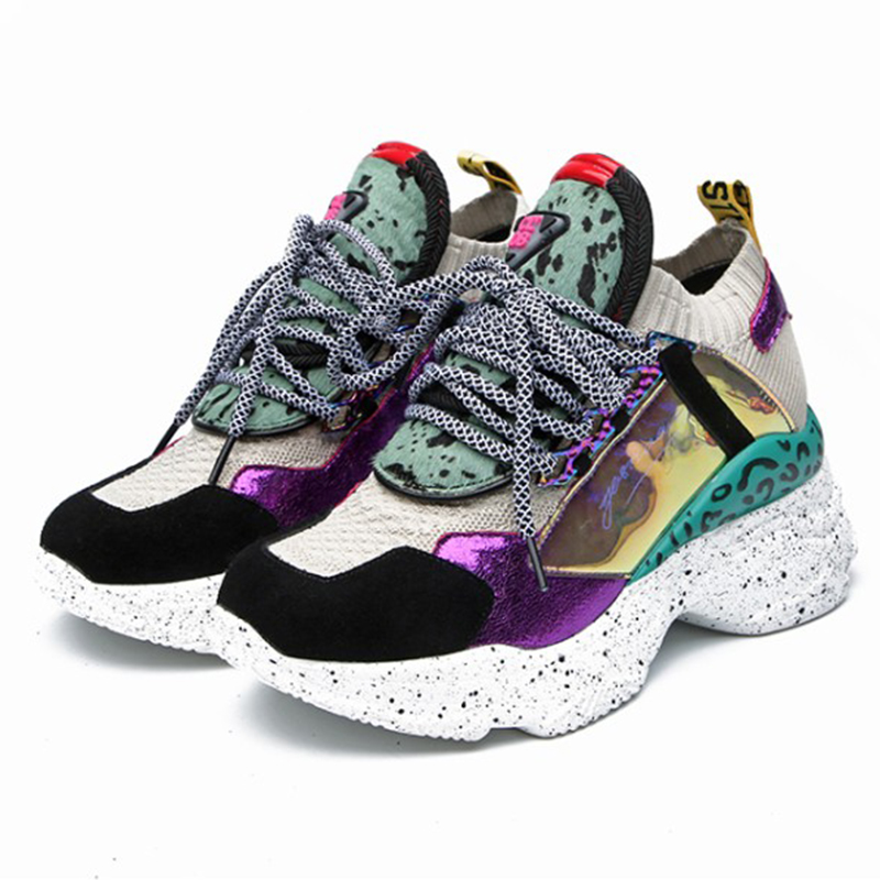 2019 Printemps Style Bout Rond Plate-Forme Chunky Sneakers Papa Chaussures Chaussette Champagne Violet Panier Femme Femmes Chaussures Taille 35- 42 M9024