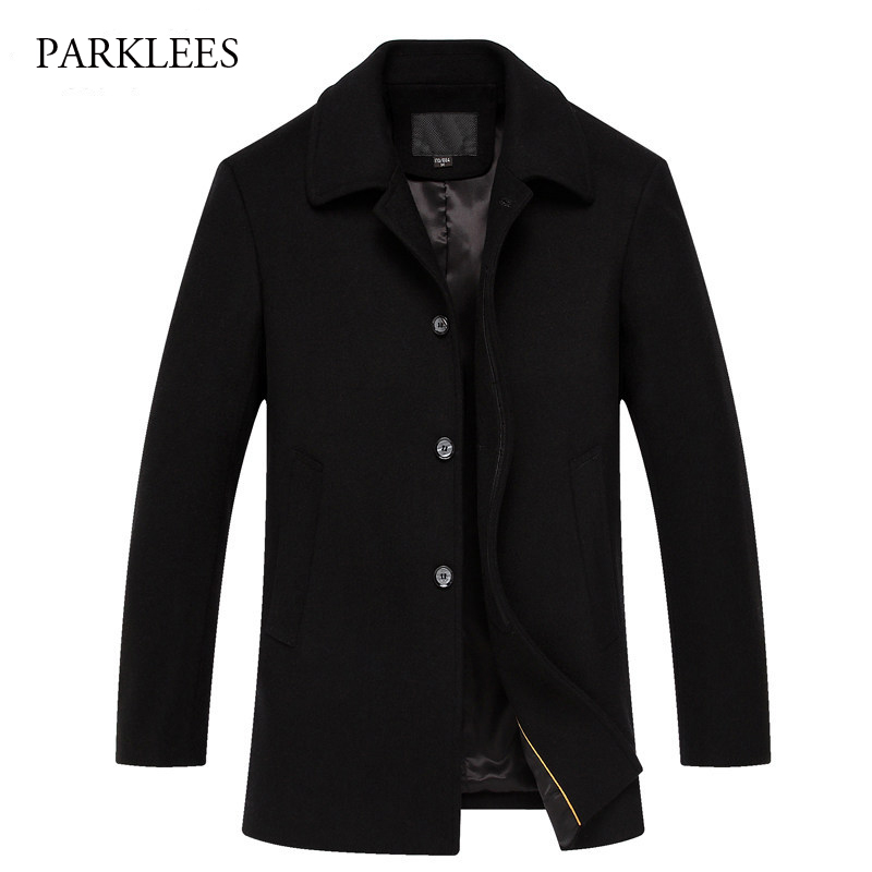 Luxury Wool Coat Men 2017 Winter Mens Cashmere Coat Brand Slim Fit Wool Blends Pea Coat Casual Single Breasted Trench Men Coat