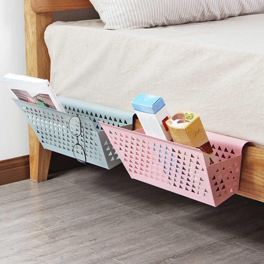 Ev yatak odası ferforje asılı sepet Yurt saklama sepetleri ranza depolama rafı basit üniversite yurdu başucu rafı