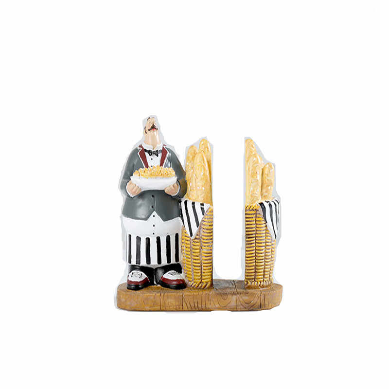 European Vintage Resin Chef figurines Napkin Holder Tissue Paper Christmas Decoration Restaurant Kitchen Decoration Home Decor