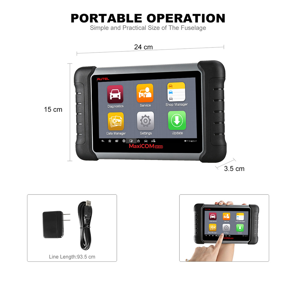 Image 2 - Autel Original MaxiCOM MK808 Diagnostic Tool 7 inch LCD Touch Screen Swift Diagnosis Functions of EPB/IMMO/DPF/SAS/TMPS and More-in Engine Analyzer from Automobiles & Motorcycles