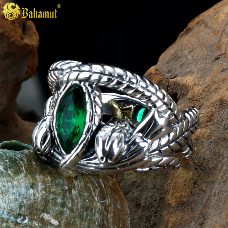 The Lord of The Rings LOTR Jewelry 925 Sterling Silver Aragorn's Ring of Barahir One Sliver Ring Gift Men Rings Snake Type the realm of clans anime ling yu qinlie 925 sterling silver ring comics cartoon