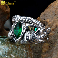 The Lord of The Rings LOTR Jewelry 925 Sterling Silver Aragorn's Ring of Barahir One Sliver Ring Gift Men Rings Snake Type