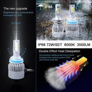 Image 2 - 6000 18k h4 ledヘッドライトh11 h1 9012 9005 9006 hb3 hb4 H7 led cobヘッドランプ電球ハイロービーム車の電球externl光源 72 ワット 12v