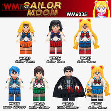 Single Sailor Moon Blocks Venus Moon Mecury Mars Jupiter Anime Minifigs Unikitty Building Blocks Bricks Girls Toys for Children(China)