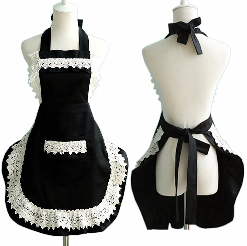 White apron in store - Adjustable Lovely Lace Work Apron Home Shop Kitchen Cooking Women Ladies Aprons With Pocket For Gift