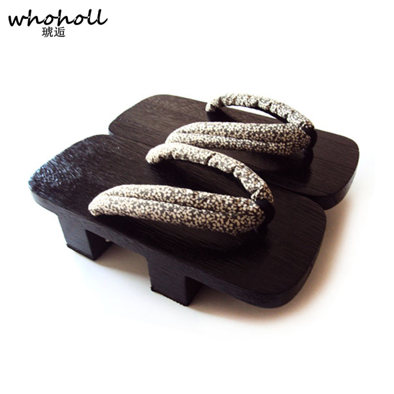 Whoholl Man Sandals Slippers Summer Japanese Wooden Geta Clogs Shoes Platform Sandals Flip-flops Man Two Teeth with Free Socks