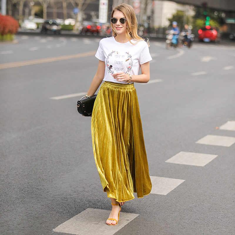 8d8415b3a ... 2019 New Spring Casual High Waist Golden Long Pleated Skirts Women Fashion  Metallic Skirt for Female ...