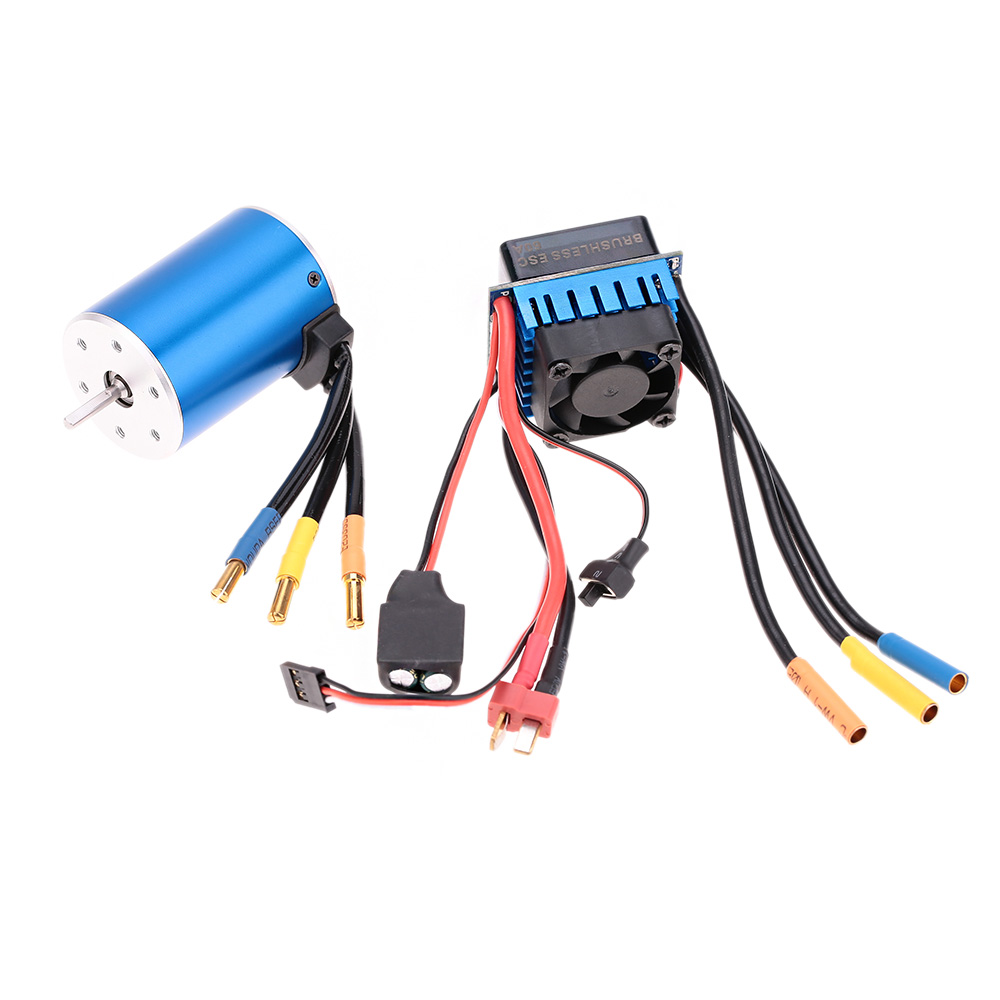 Aeolian 3650 3900KV 4P Sensorless Brushless car Motor with 60A splash-Proof ESC  Speed Controller for 1/10 RC Car Truck parts 3650 3900kv 4p sensorless brushless motor 60a brushless elec speed controller esc w 5 8v 3a switch mode bec for 1 10 rc car