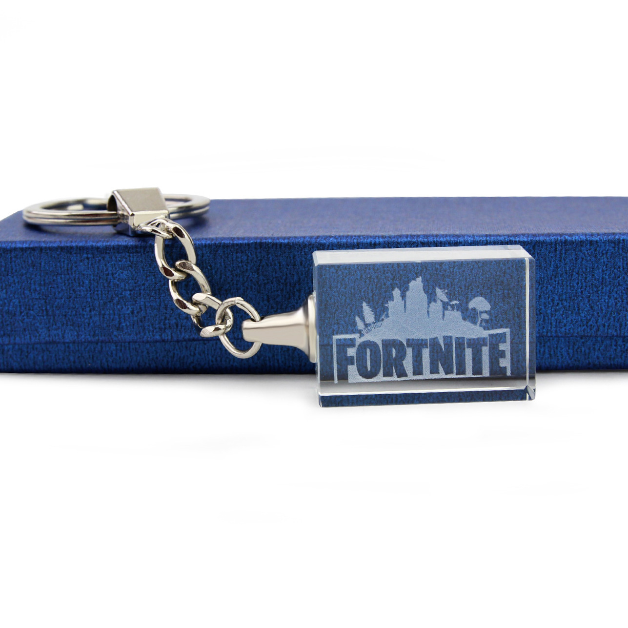 The Newest FPS Game for Fortnite Battle Royal Crystal Keychain Rectangle Pendant Gift Box Packaging Free Shipping