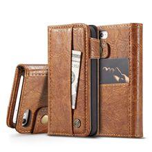 CaseMe-010 Card Pocket Flip Wallet Leather Case Hard PC Back Cover For iPhone 5 5s SE 6 6s 6 Plus 6s Plus 7 7Plus 8 8Plus X caseme for iphone 6s plus 6 plus wallet retro split leather cover with detachable pc case blue