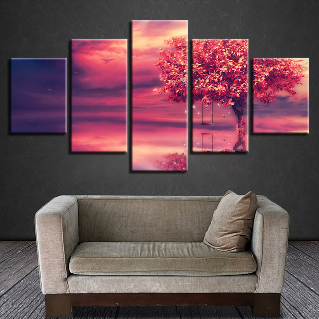 Canvas Prints Pictures Living Room Framework 5 Pieces Red Tree Swing ...