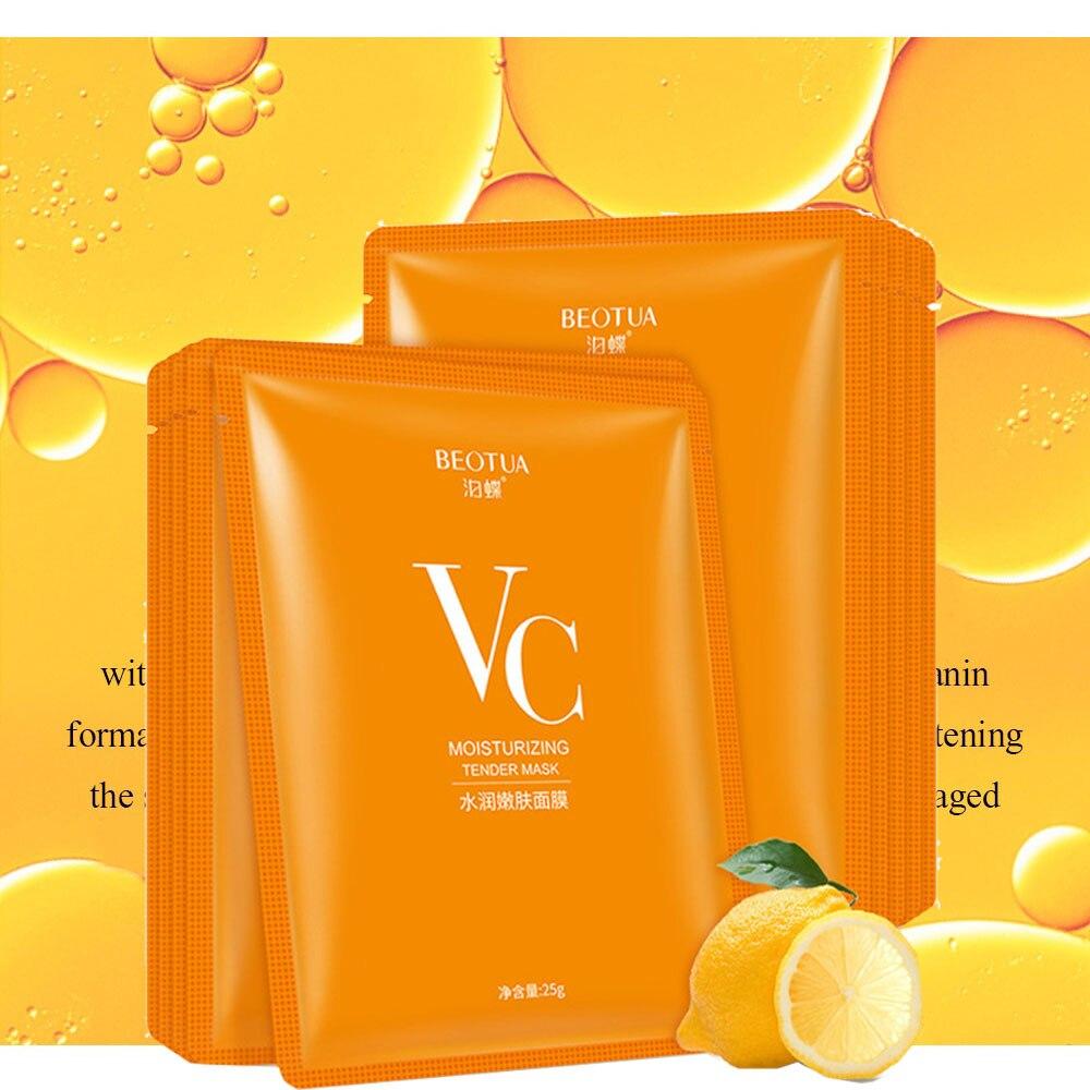 Máscara facial para el cuidado de la piel vitamina C máscara de hoja v c mascarilla facial coreana blanqueadora para mujer belleza y salud