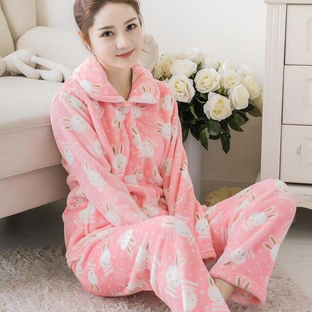 سترة منامة دعوى الشتاء النساء منامة مجموعة ملابس خاصة الفانيلا منامة ملابس النوم أعلى السراويل 2 قطعة منامة مجموعات بيجاما Feminino