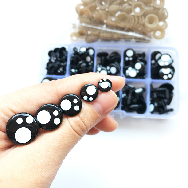 100pcs/box 8-16mm Doll Eyes Cartoon Safety Eyes For Handmade Amigurumi Eyes Doll For Bear Craft Stuffed Toys Doll Accessories
