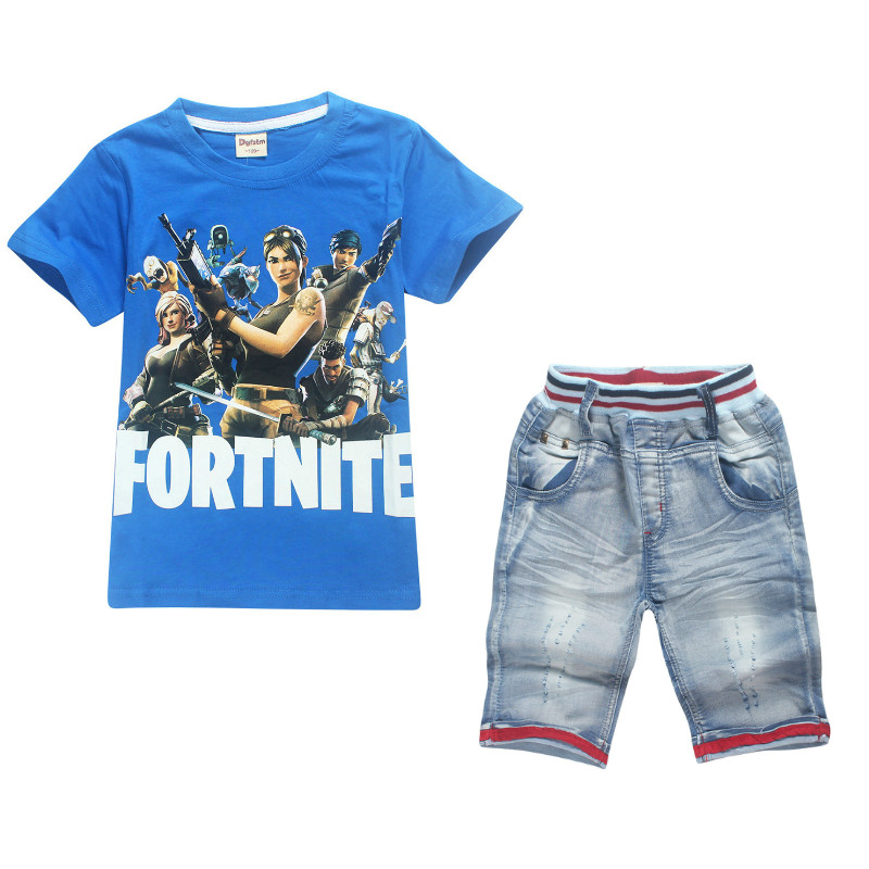 Boys/Girls/Kids Clothes 2018 Summer Children Fashion Cartoon Game Eat Chicken Fortnite Set Cotton T shirt+Jeans Short Sets 6-14Y