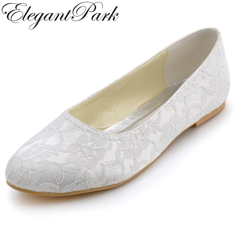 White Ivory Women Wedding Flats Shoes Closed Toe Comfort Ballerina Ballets Slip On Lace Bride Ladies Woman Shoes EP11106