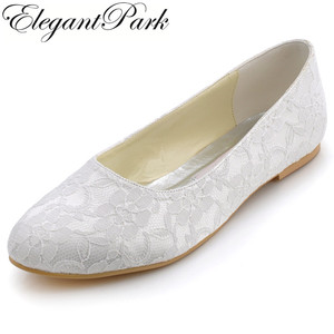 Woman Wedding Bridal Flats White Ivory Closed Toe Comfort Lace lady Bride ballerina Ballets Evening Party Shoes EP11106
