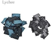 Личи 50 шт. синий черный ручной тканые этикетки с вышивкой с надписями моющиеся теги для одежды сумки DIY швейная фурнитура