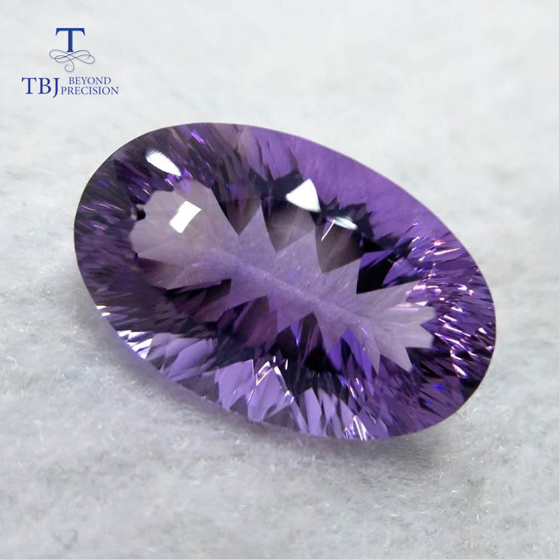 все цены на Tbj , natural amethyst oval cut 14*22mm concave cut ard 17.7ct for silver or gold jewelry mounting,100% natural loose gemstones