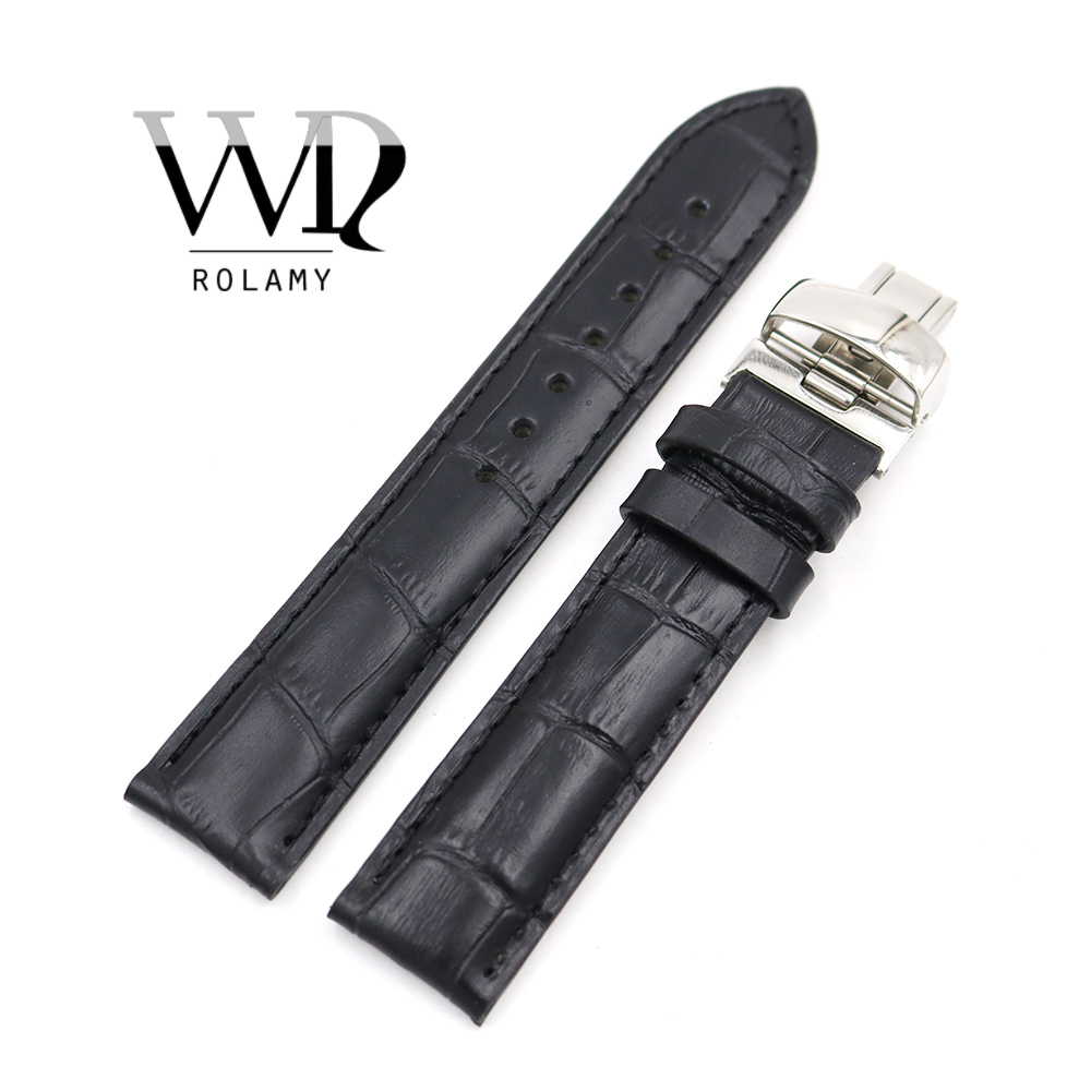 Rolamy 19mm Wholesale Genuine Leather Replacement Wrist Watch Band <font><b>Strap</b></font> Bracelet Loops For <font><b>PRC200</b></font> T17 T461 T014430 T014410 image
