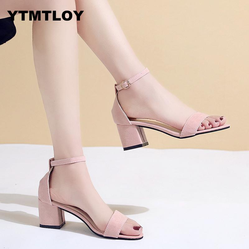 2019 Summer Hollow Women Sandals Thick Ankle Strap Sandalias Mujer Fashion Sandal Female Party Shoes High Heels Peep Toe