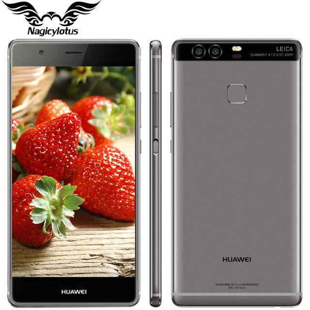 Оригинал huawei p9 4g lte мобильного телефона кирин 955 octa ядро Android 6.0 5.2 дюймов 1920X1080 3 ГБ 32 ГБ Двойной Черный 12.0MP Отпечатков Пальцев