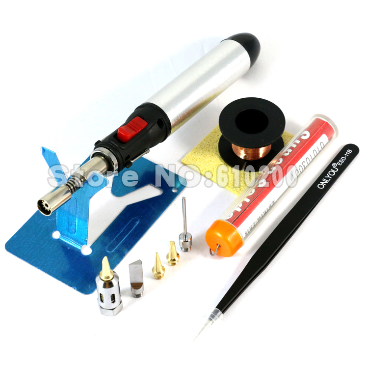 Aerated Flame Butane Gas Soldering Iron Kit Set Pen Flame Torch DIY Tool Cordless Solder Iron+5/PCS Tips nozzle+tweezers+Solder gs 210 pen shape gas soldering iron cordless torch soldering iron