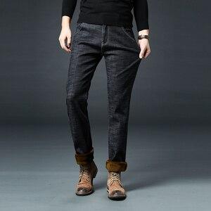 Image 3 - Мужские прямые джинсы jantour, зимние теплые флисовые джинсы из плотного стрейча, хлопковые штаны, большие размеры 35, 40, 42, 44, 46