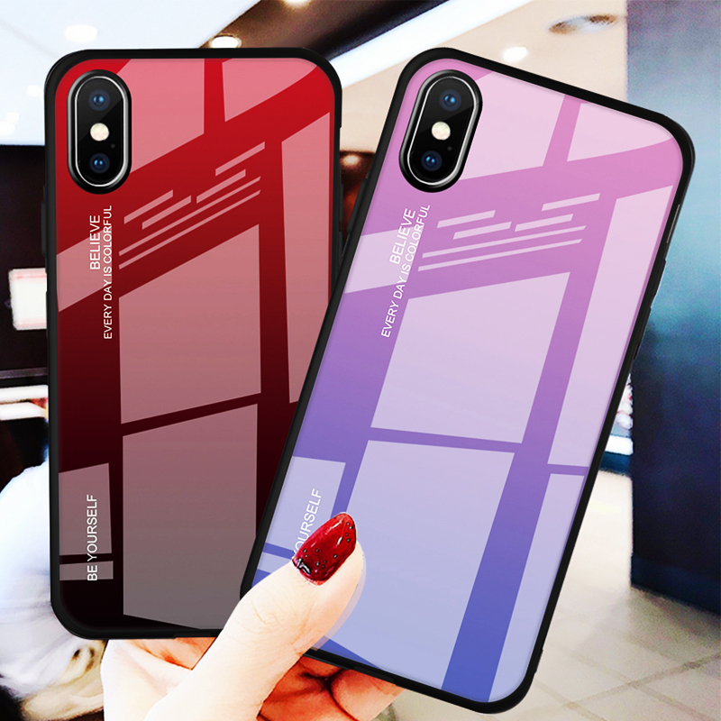 For iPhone X XR XS Max Case Tempered Glass Case Luxury