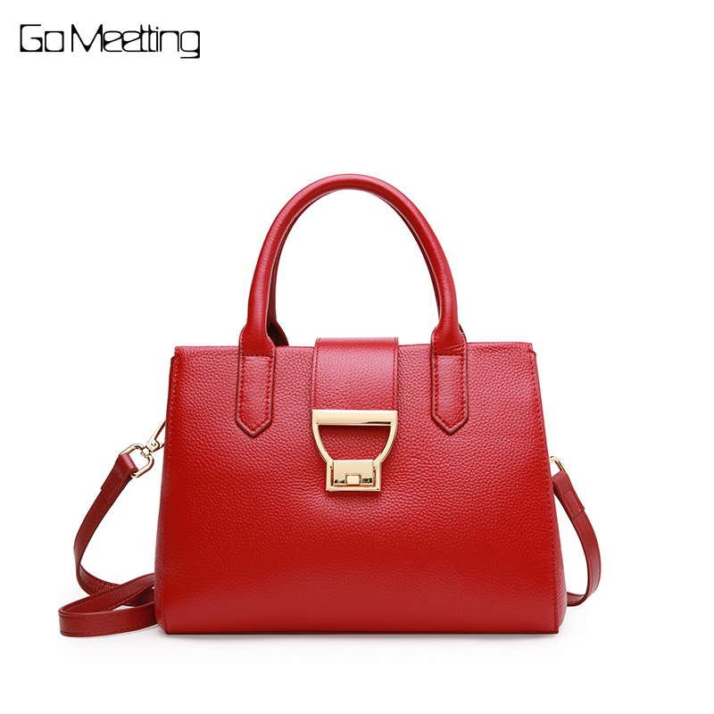 Go Meetting Fashion Brand 100% Genuine Leather Women Handbags Fashion Lock Messenger Bags High Quality Real Cowskin Shoulder Bag стоимость