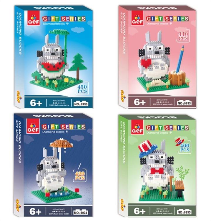 QCF Diamond Blocks Japanese Anime DIY Building Bricks Totoro Auction Figure Micro Blocks Brinquedos Kids toys  Girls 9933-9936 2017 mini blocks dinosaur diy building bricks fossil 3d auction figure tyrannosaurus rex micro blocks kids toy boy jurassic gift