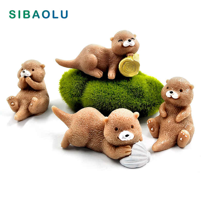 4pcs Resin Artificial Mini Otter cartoon animal Model Bonsai home decor miniature fairy garden decoration accessories modern toy