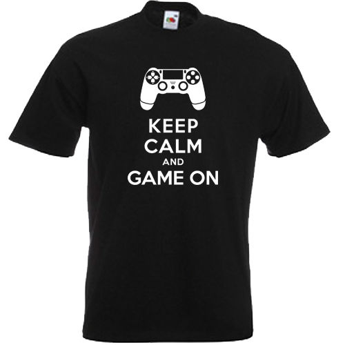 KEEP CALM & GAME ON 360 XBOX ONE PS3 PS4 FUNNY MENS T SHIRT S-3XL PLAYSTATIONMans Unique Cotton Short Sleeves O-Neck T Shirt image